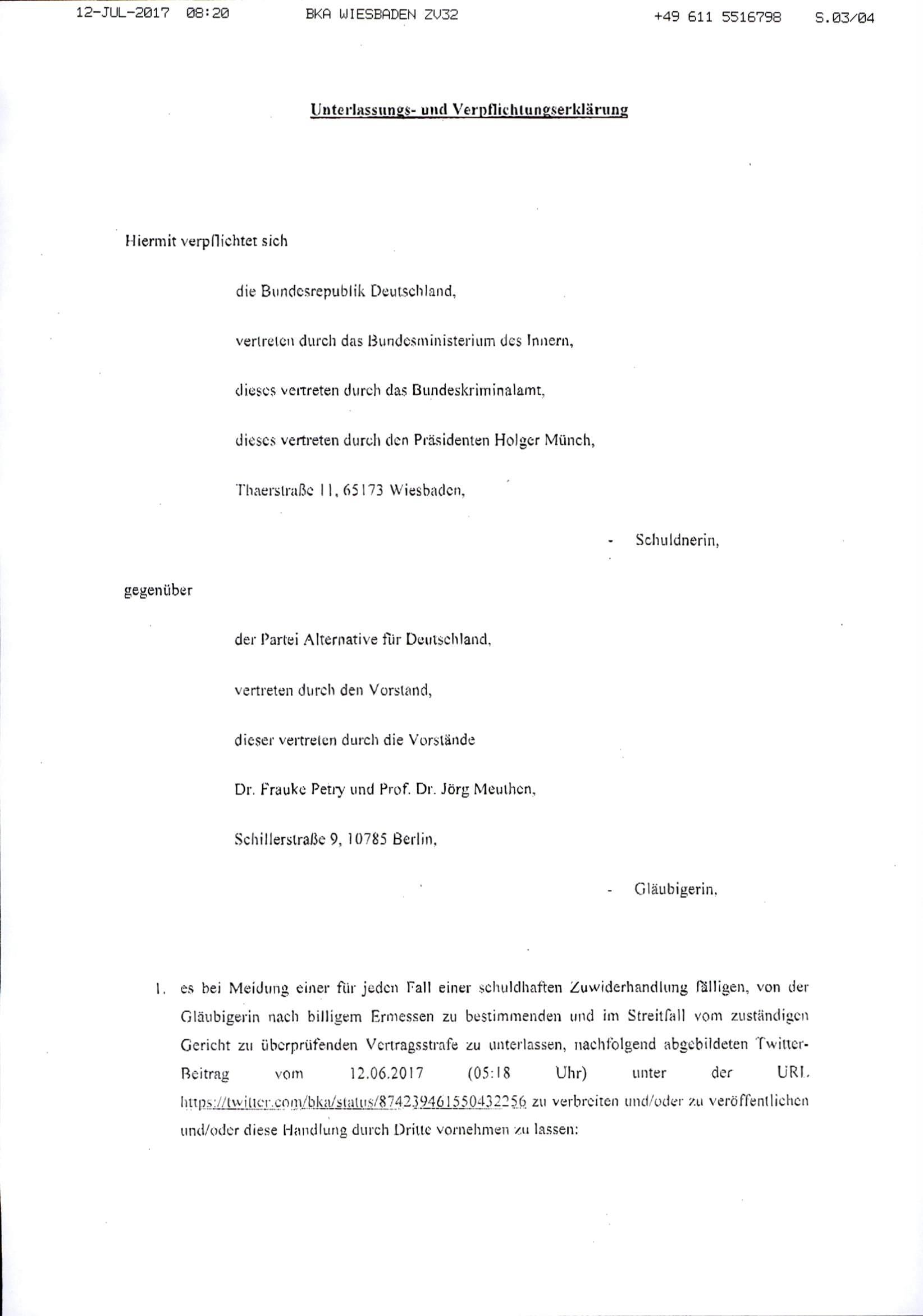 die beanstandete verffentlichung der alternative fr deutschland als beispiel fr rechtsextremismus knftig auch durch dritte zu unterlassen - Strafbewehrte Unterlassungserklarung Muster